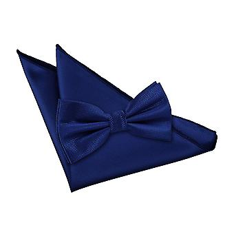 Royal Blue Solid Check Bow Tie & Pocket Square Set