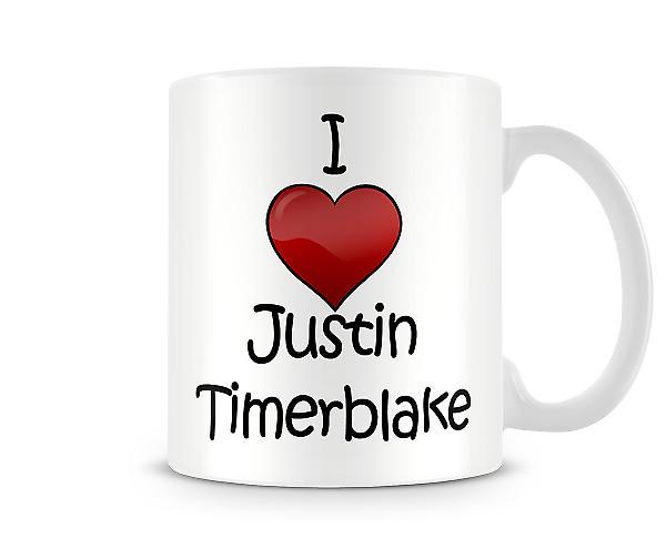 Justin Timberlake imprimé J'aime la tasse