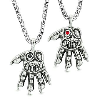 Werwolf Pfoten übernatürliche Amulette Liebe Paare Beste Freunde schwarz rote Kristalle Anhänger Halsketten