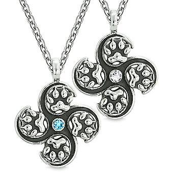 Supernatural Wolf Paw Amulet Powers Love Couples Best Friends White Blue Crystals Pendant Necklaces