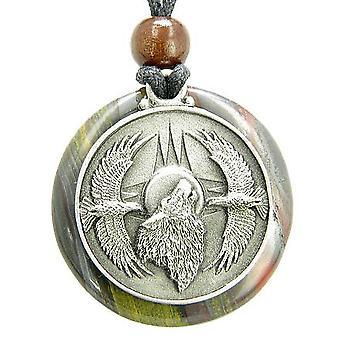 Amulet hylende Wolf Eagles magiske Medallion cirkel Tiger øje jern vedhæng halskæde