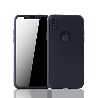 Apple iPhone X Handy-Hülle Schutz-Case Full-Cover Panzer Schutz Glas Schwarz