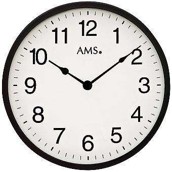 AMS 9495 wall clock quartz analog black white around simply very flat