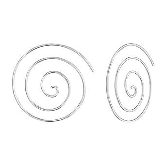 Spiral - 925 Sterling Silver Plain Earrings