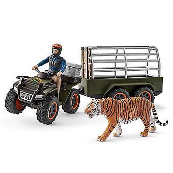 Schleich fyrhjuling med släp och Ranger