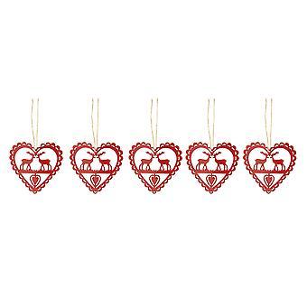 Праздничная Productions набор 5 Рождество металла 10 см красных сердец оленей елочных игрушек