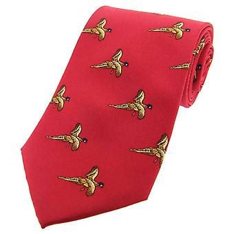 David Van Hagen Flying Pheasant Country Silk Tie - Red