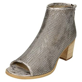 Ladies Savannah Peep Toe Perforated Ankle Boots F10599