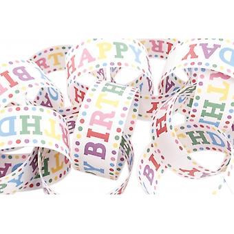 Retro Polka Dot Happy Birthday Paper Chain Set
