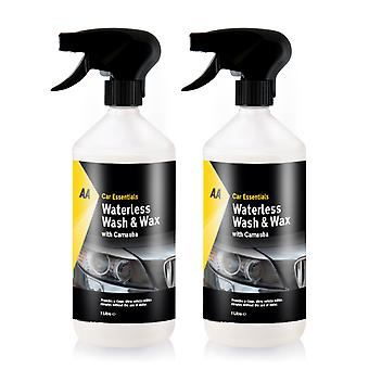 AA Car Essentials -  2 x 1L Waterless wash and wax with Carnauba Car Cleaner
