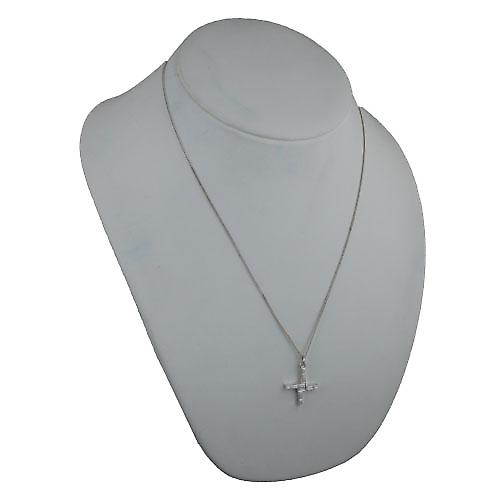 Silver 22x22mm St Bernadette Cross with a curb Chain 22 inches