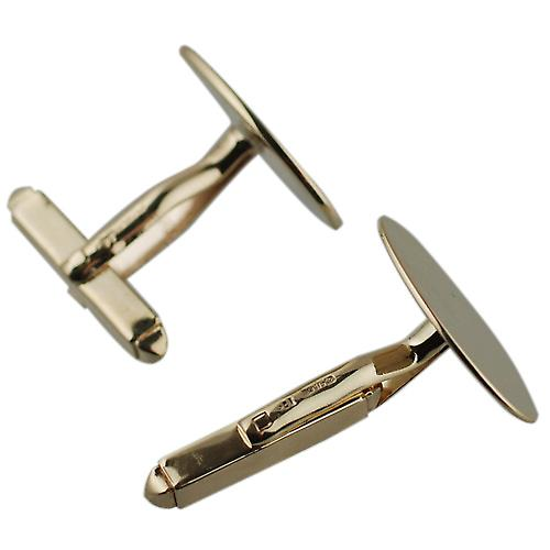 9ct Gold 19x11mm plain swivel Cufflinks