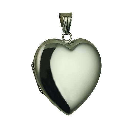 9ct White Gold 30x28mm plain heart Locket