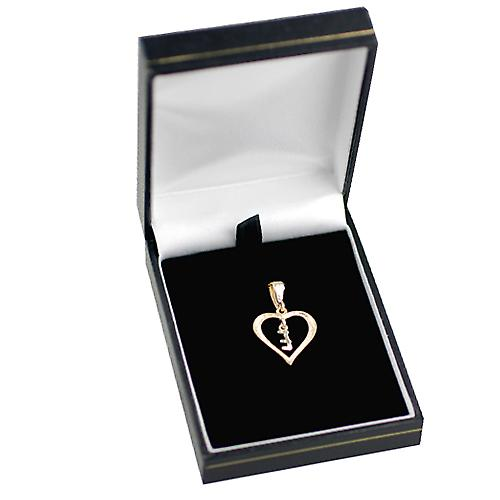 9ct Yellow Gold 18x18mm heart with a hanging Initial E
