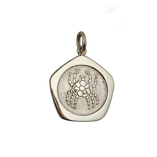 9ct Gold 21mm five sided Cancer Zodiac Pendant