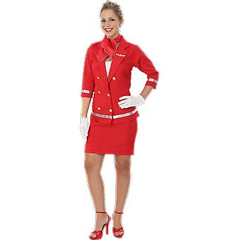 Womens sexy Red Air hôtesse Flight attendant uniforme Déguisements costume