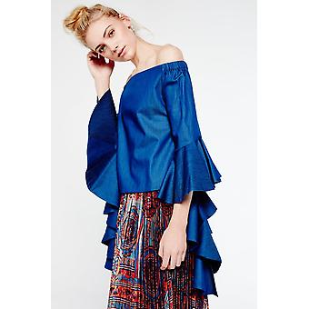 Gracia Denim Off-The-Shoulder Ruffle Top