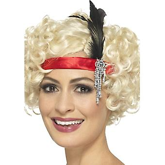 Womens rot Satin 1920er Jahre Charleston Stirnband Fancy Dress Zubehör