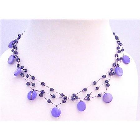 Three Stranded Amethyst Necklace Shell & Fancy Beads Choker Necklace