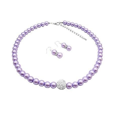 Wear Style Pearls w/ Diamond Ball Necklace & Bracelet Set