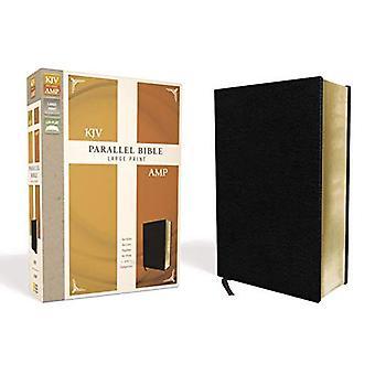 KJV, Bible amplifiée, parallèle, imprimé à gros caractères, cuir, noir, Red Letter Edition: Deux Versions de la Bible ensemble pour l'étude et la comparaison