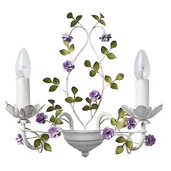 Glasberg - vit dubbel vägg ljus med lila blommor och guld detalj 421024502
