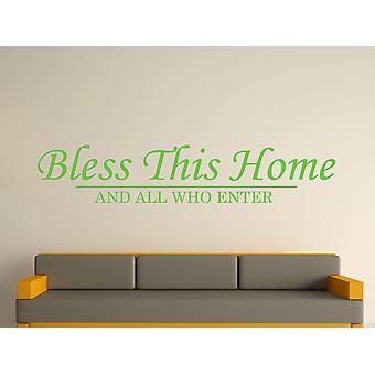 Välsigna detta hem vägg konst klistermärke - Apple Green