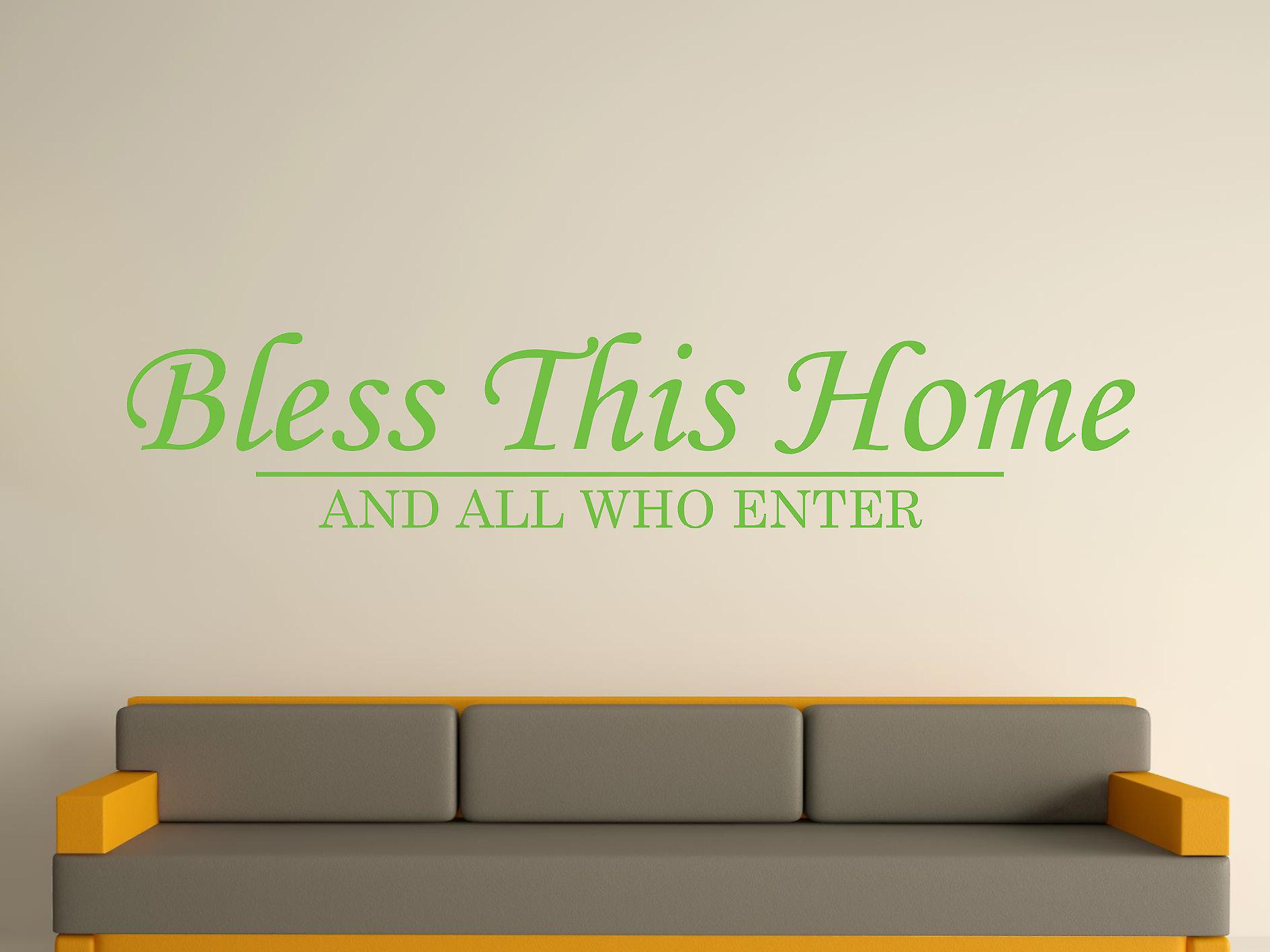 Bless This Home Wall Art Sticker - Apple Green