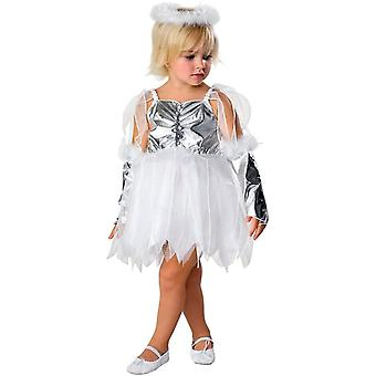 Fantasia de criança de anjo prata