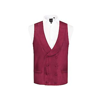 Dobell Mens Burgundy Waistcoat Regular Fit Double Breasted Shawl Lapel Dupion