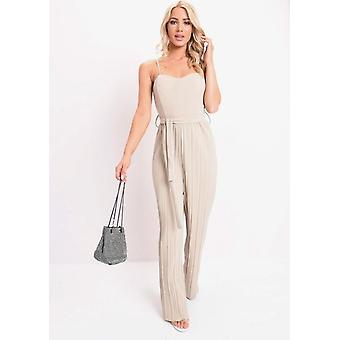 Pleated Wide Leg Jumpsuit Beige