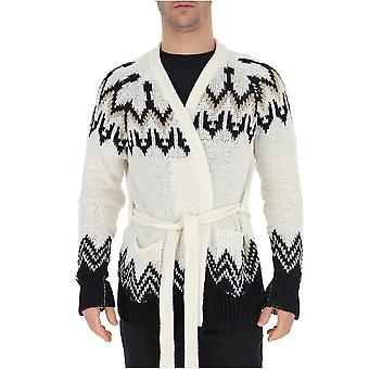 Laneus White/black Cotton Cardigan
