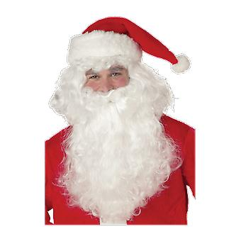 Mens Santa bianco parrucca & barba padre Natale Fancy Dress Costume accessorio