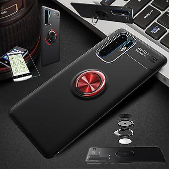 Für Huawei P30 Lite Ultra dünn Magnet Metall Ring Case Schwarz / Rot + Hartglas Tasche Hülle Cover Hülle