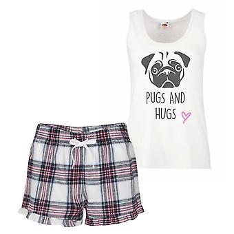 Pugs And Hugs Pink Tartan Pyjamas