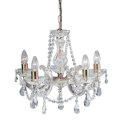 Searchlight 699-5 Marie Therese 5 Arm Polished Brass Chandelier With Crystal