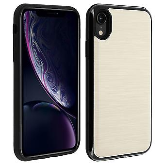 iPhone XR Protective Soft Silicone Case Aluminum Reinforced edges, Gold