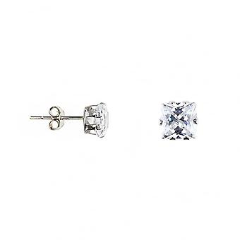 Eternity 9ct White Gold Square Cubic Zirconia Stud Boucles d'oreilles