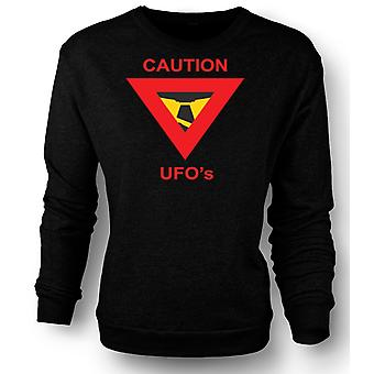 Womens Sweatshirt Caution UFO's Warning Sign
