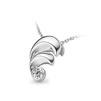 PENDANT WITH CHAIN CURVES 925 SILVER WHITE ZIRCONIUM