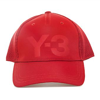 Mens Y-3 Trucker Mesh Cap In Red- Pre-Curved Visor- Button To Top- Perforations