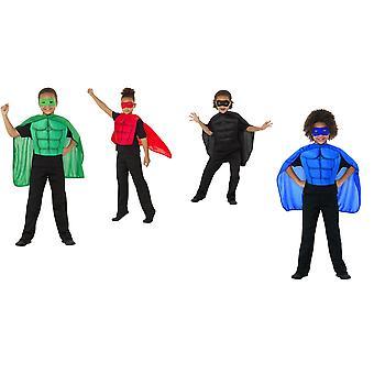 Kinder Superhelden Kit Grün mit Kostüm Augenmaske Schaumstoff Brustplatte und Umhang Kinderkostüm
