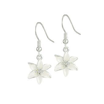Eternal Collection Lily White Enamel Silver Tone Flower Drop Pierced Earrings