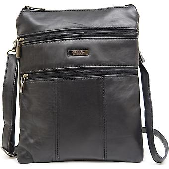 Ladies / Womens Super Soft Leather Shoulder / Cross Body Bag with Detachable / Adjustable Strap (Black)