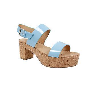 Blue Patent Platform Cork Sandal In EEE Fit