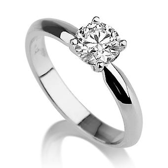 1 1/5 Carat E SI2 Diamond Engagement Ring 14k White Gold Classic Ring Vintage Ring Round Brilliant