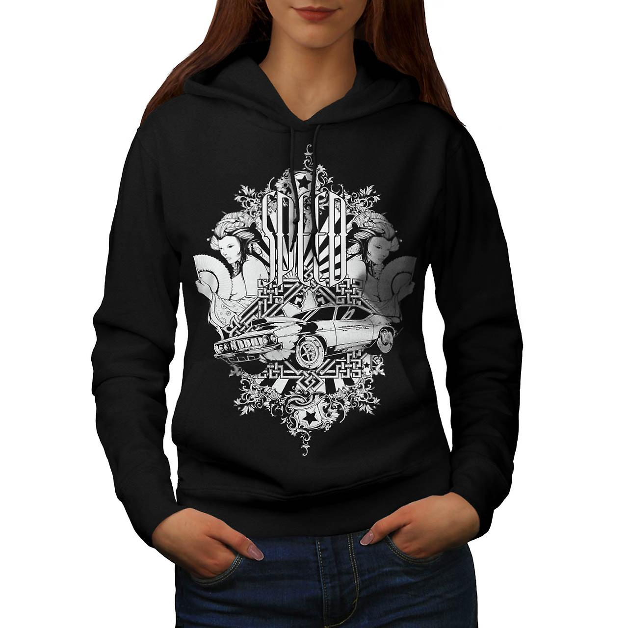 Auto Mobile Speed Car Race Motor Women Black Hoodie | Wellcoda
