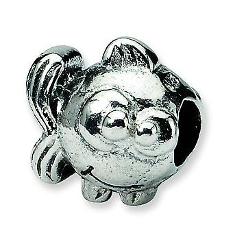 Sterling Silver Polished Antique finish Reflections SimStars Kids Fish Bead Charm