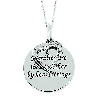 Sterling Silver Antiqued Cubic Zirconia Families Are Tied Together 18inch Heart Necklace