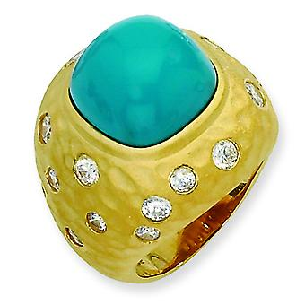 Gold-Flashed Sterling Silver Satin Simulated Turquoise and Cubic Zirconia Ring - Ring Size: 7 to 8
